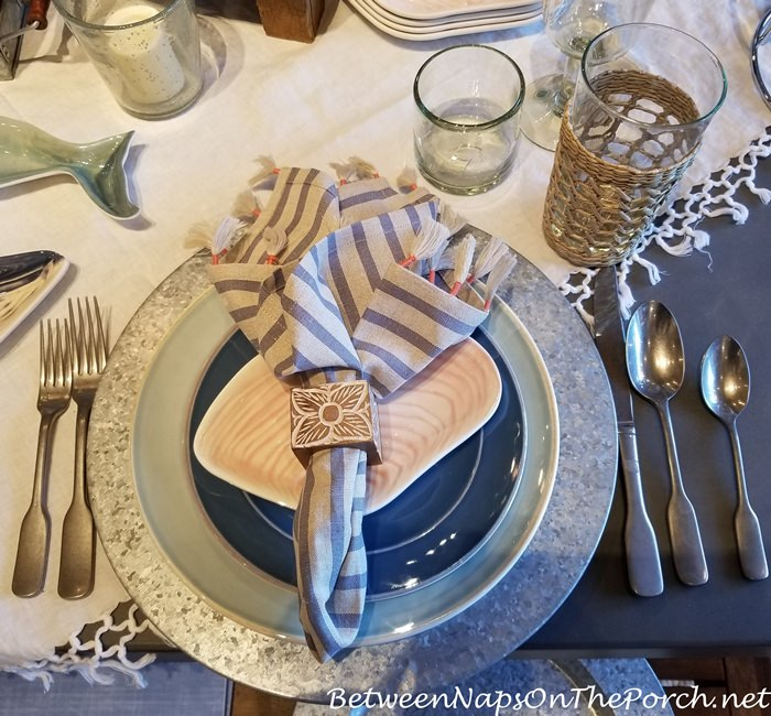 Beachy Table with Striped Napkins