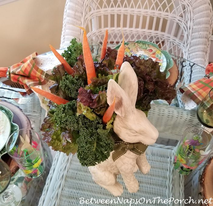 Bunny Centerpiece with Lettuce, Kale & Carrots Arrangement
