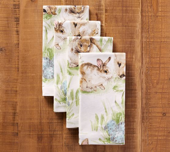 Bunny Napkins with Blue Easter Eggs