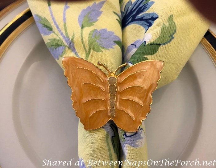 Butterfly Napkin Rings in Spring Tablescape