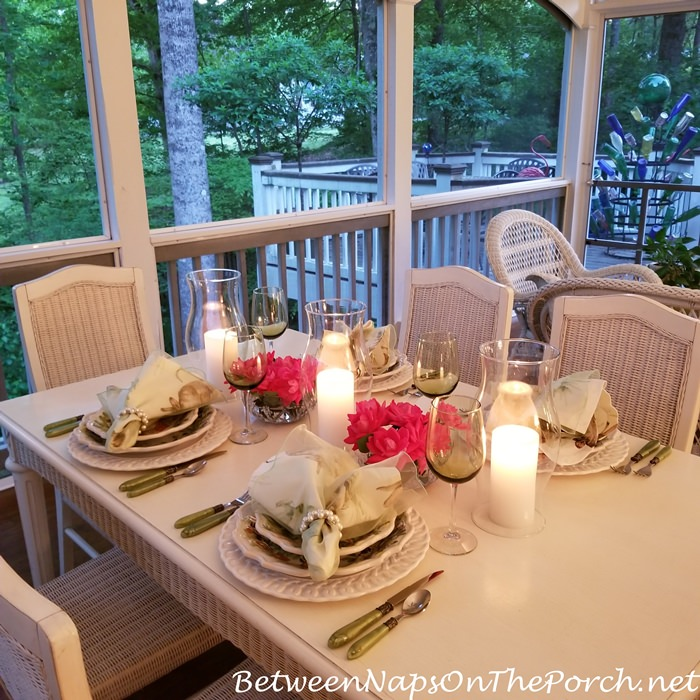 Candlelight Dining on Screened Porch