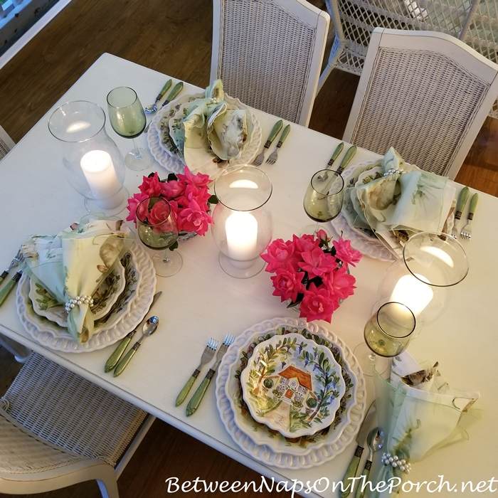 Knock out Roses in Spring Table Setting