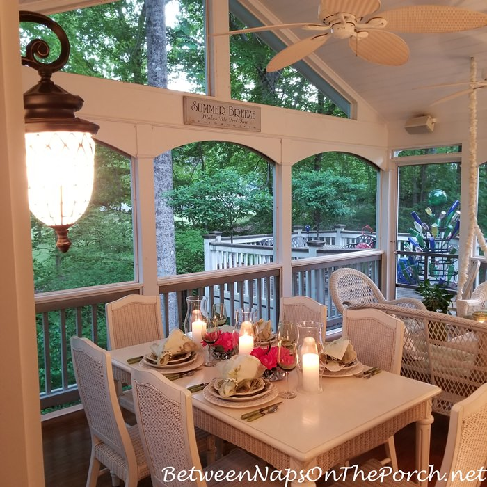 Spring Dining on Screened Porch