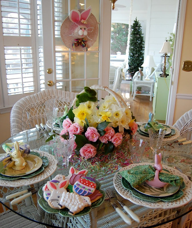 Spring Easter Table Setting with Camellia and Daffodil Centerpiece