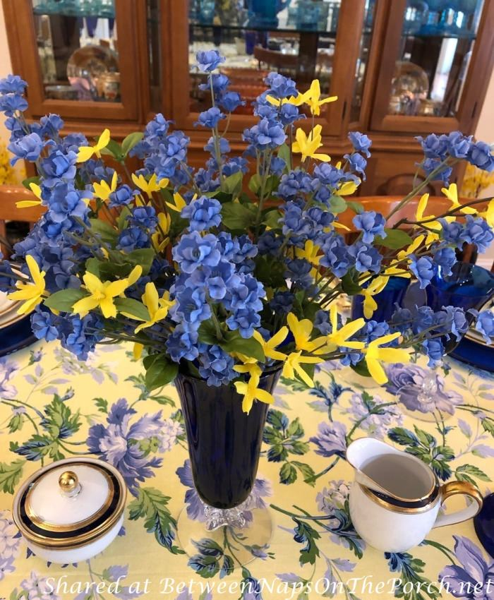 Spring Table Setting, Blue and Yellow, April Cornell Linens