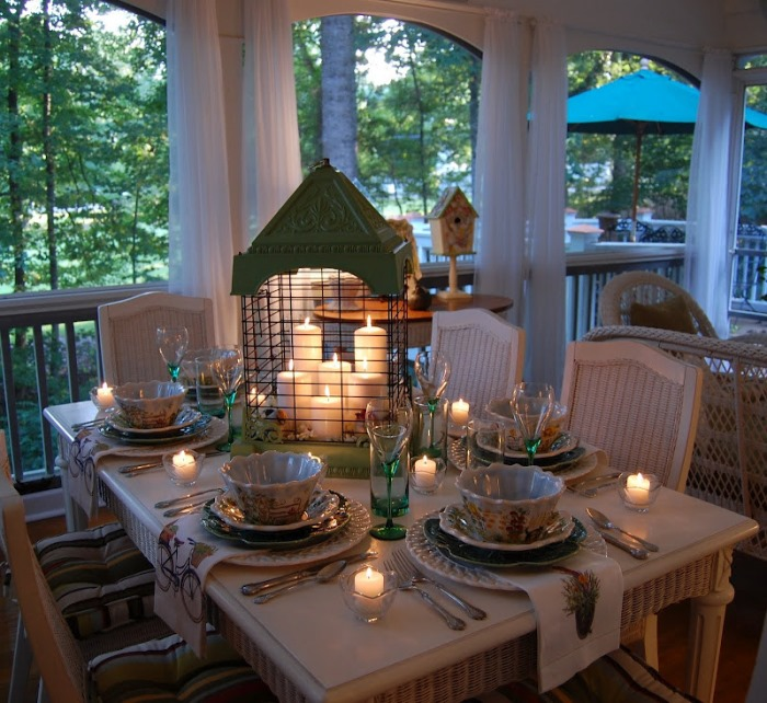 Spring Table Setting with Birdcage & Candlelight Centerpiece