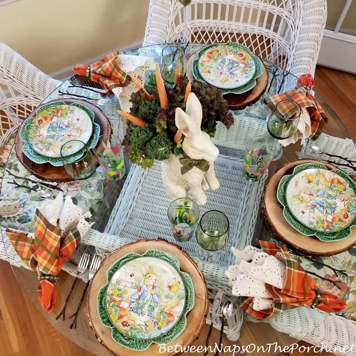 Spring Table with Peter Rabbit Garden Theme, Bunny Centerpiece