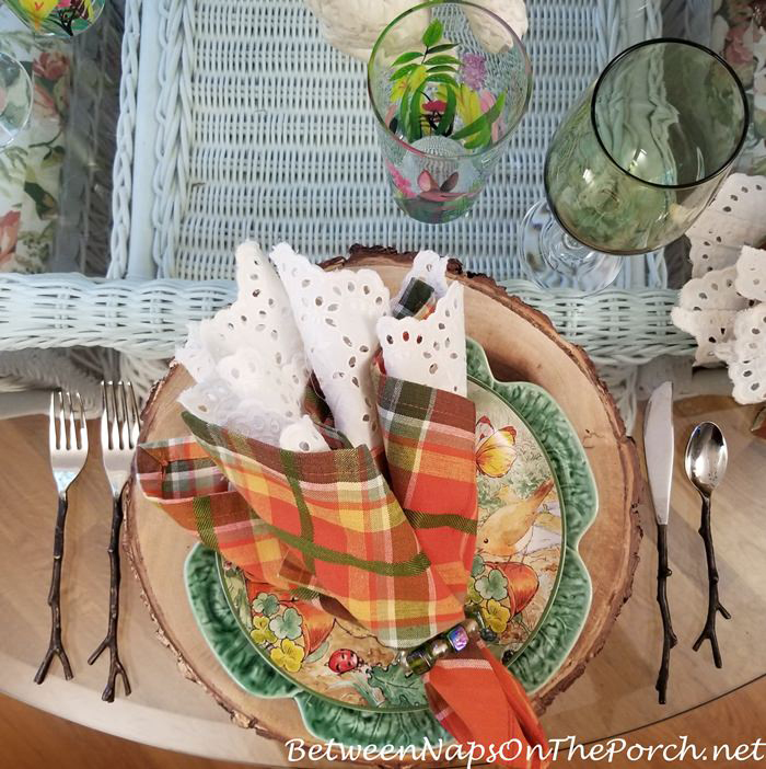 Spring Tablescape, Peter Rabbit Plates, Cabbage plates, Twig Flatware