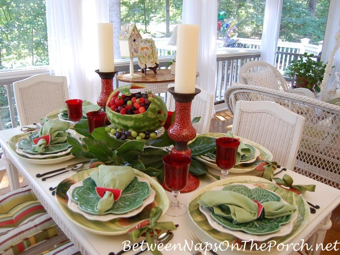 Summer Table with Carved Watermelon Whale Centerpiece