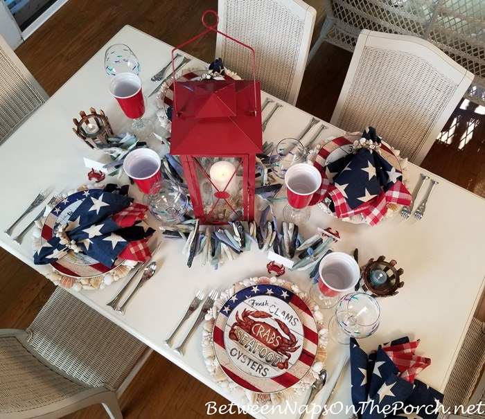 Beach themed table setting in red, white and blue, Patriotic Tablescape