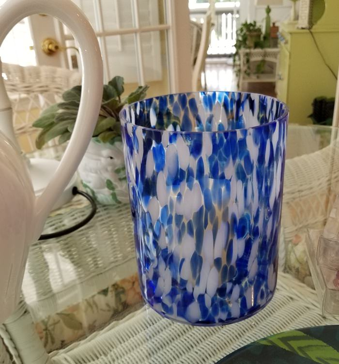 Blue, White Opalhouse Hurricane Candle Holder