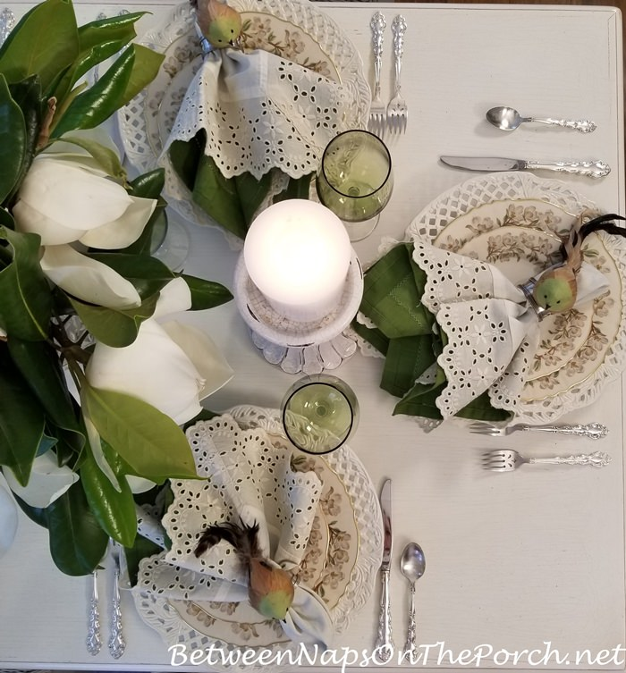 Candlelight Dining with Magnolia Centerpiece