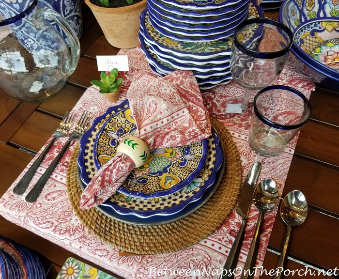 Colorful Table, Blue, White, Yellow,