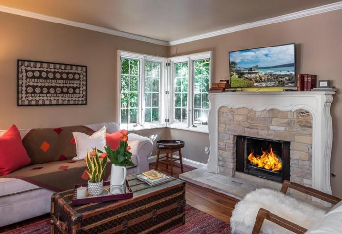 Cottage Living Room with Fireplace