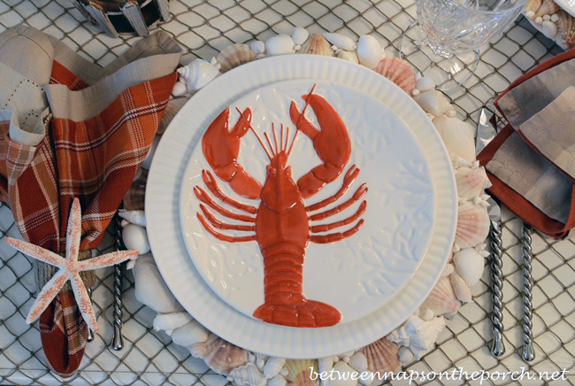 Lobster, Crab Plates, Nautical Table Setting, Beach Themed f