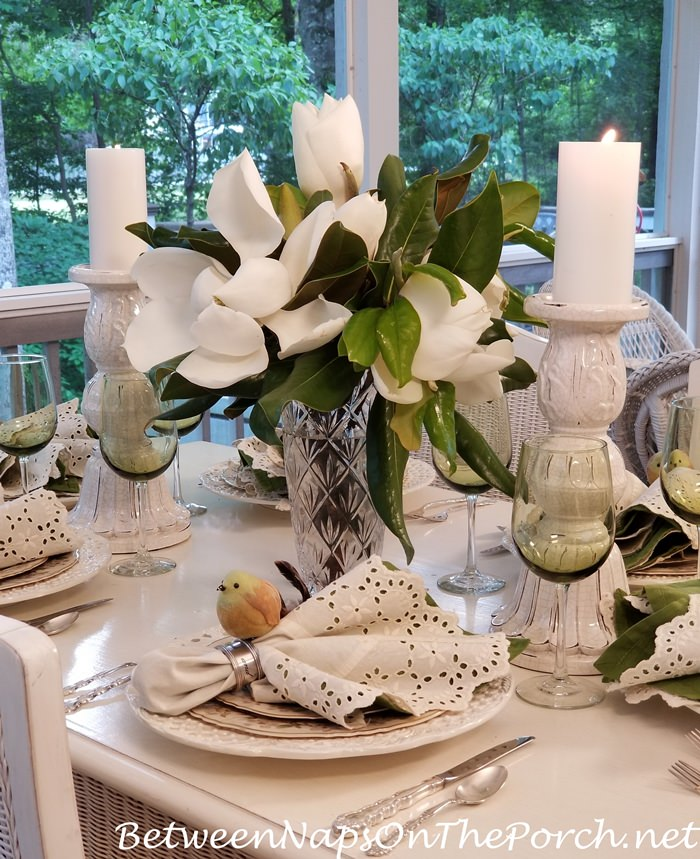 Magnolia Centerpiece for a Spring Dinner on the Porch