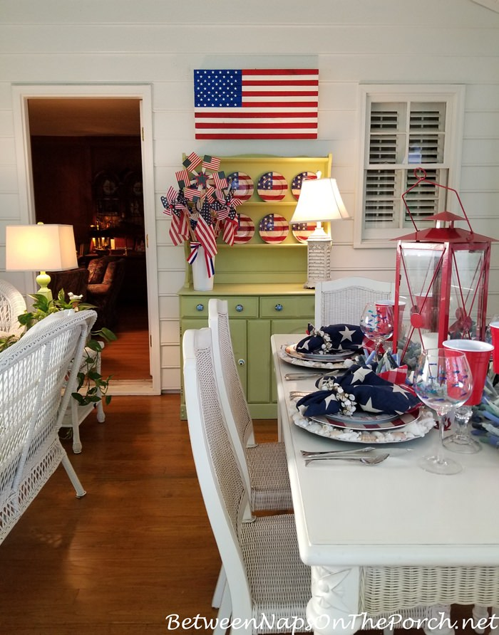 Memorial Day Decor for Screened Porch