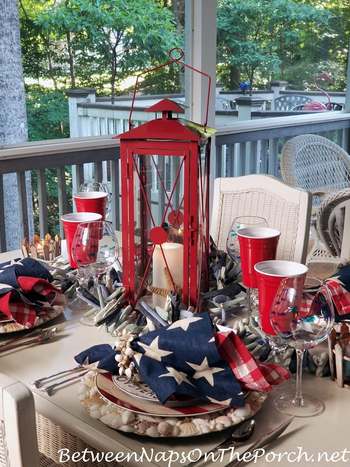 Memorial Day Table Setting with a Beach Theme