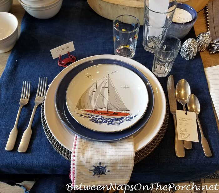 Nautical Sailboat Salad Plates, Enamel for Outdoor Dining, Compass Napkins