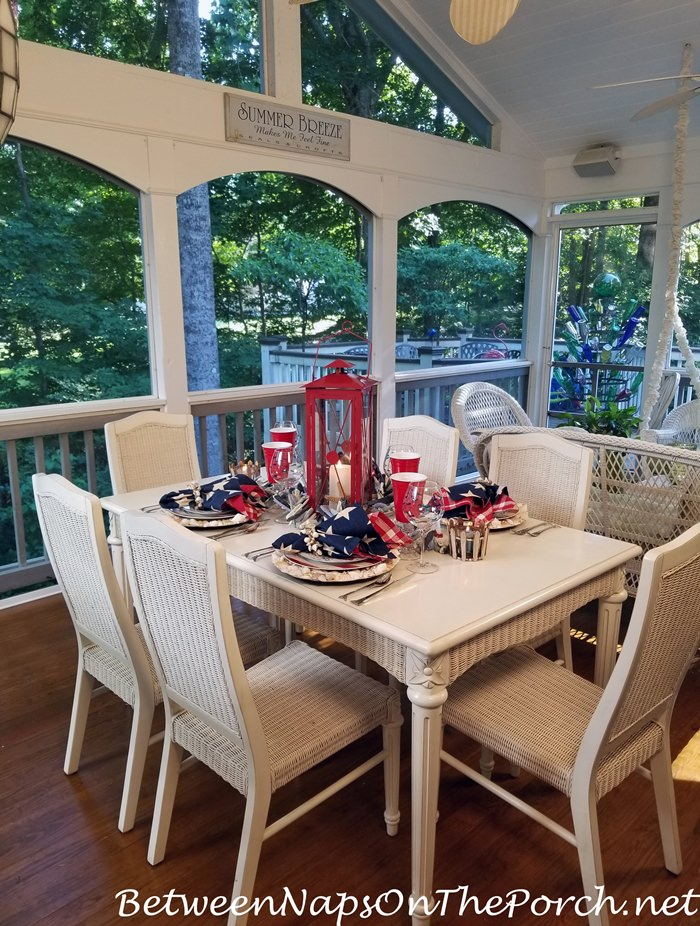 Patriotic Table with a Beach-Nautical Theme