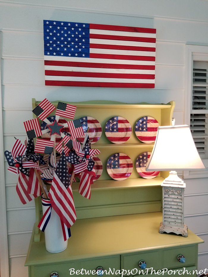 Screened Porch, Patriotic Decor, DIY Wood Flag