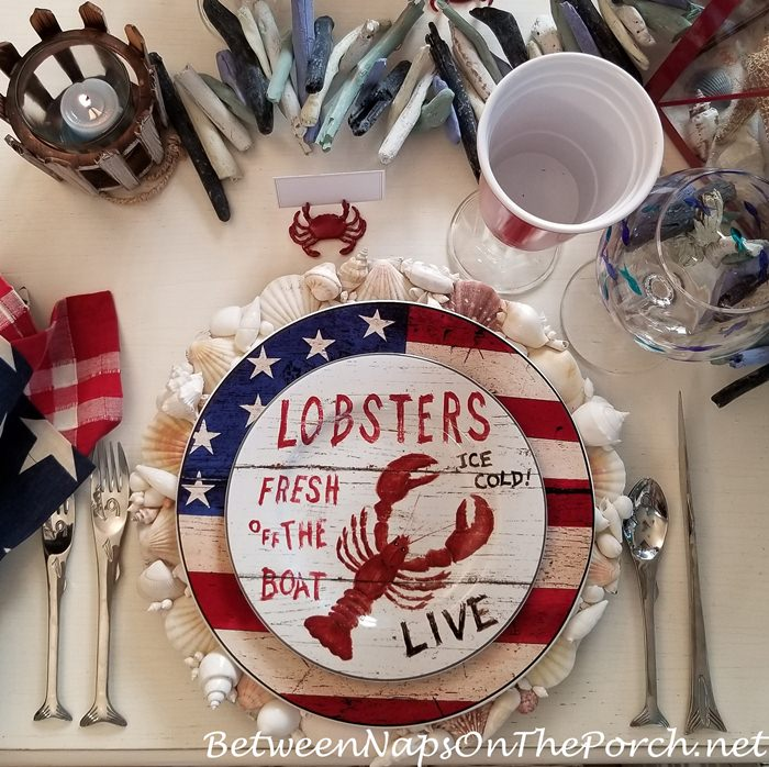Shell Chargers in Beach Themed table for Memorial Day