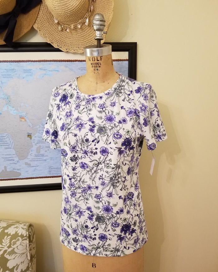 Shirt with Purple Petunias