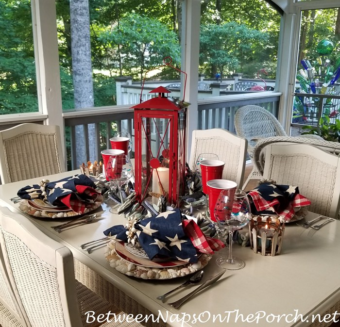 Table Setting in Red, White and Blue