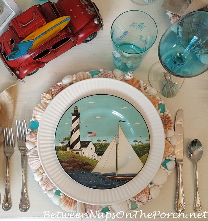 Warren Kimble Coastal Breeze Plates, Summer Table, Shell Charger Plates