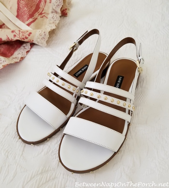 White leather sandals for summer