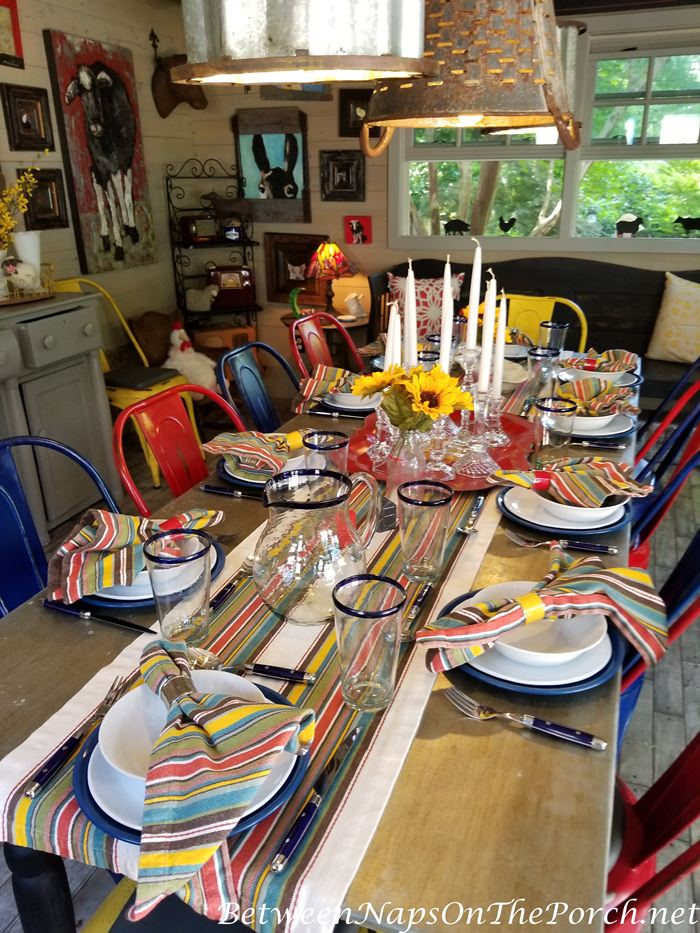 Colorful table setting for outdoor dining