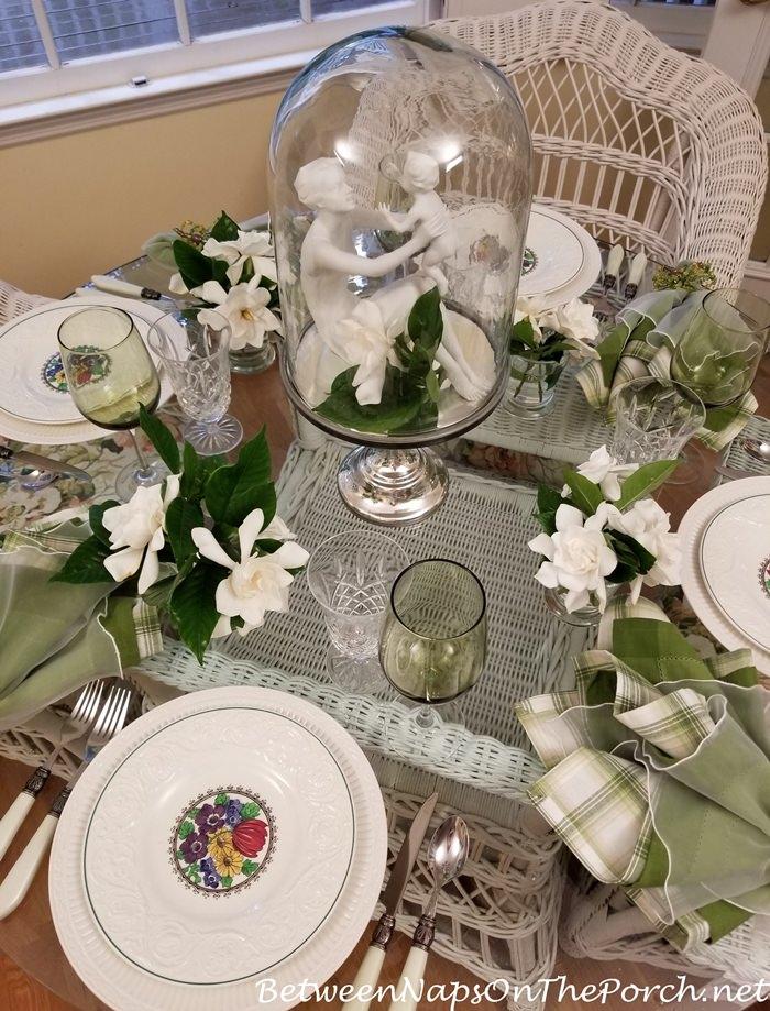 Gardenias, Wedgwood Etruria, Kaiser Porcelain in Spring Table Setting