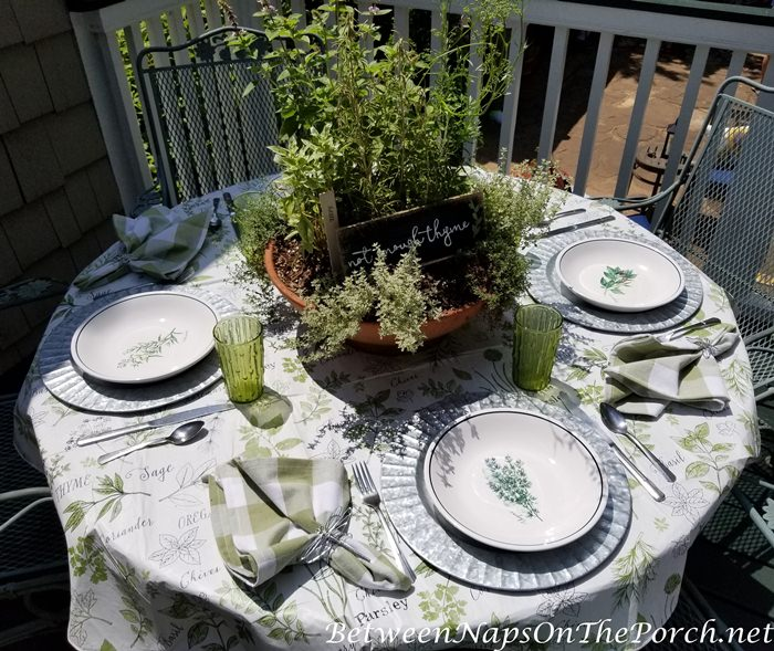 Herb-Themed Table, Herb Dishware, Herb Tablecloth, Herb Centerpiece
