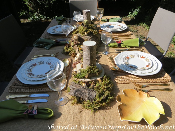 Outdoor Woodland Dinner with a Natural Moss, Fairy Centerpiece
