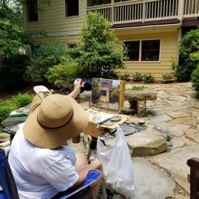 Painting in the garden, Artist in the Garden