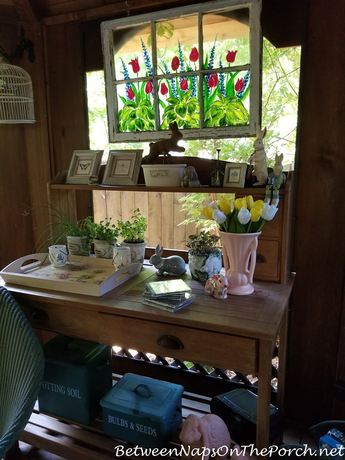 Potting Table, Painted Old Window