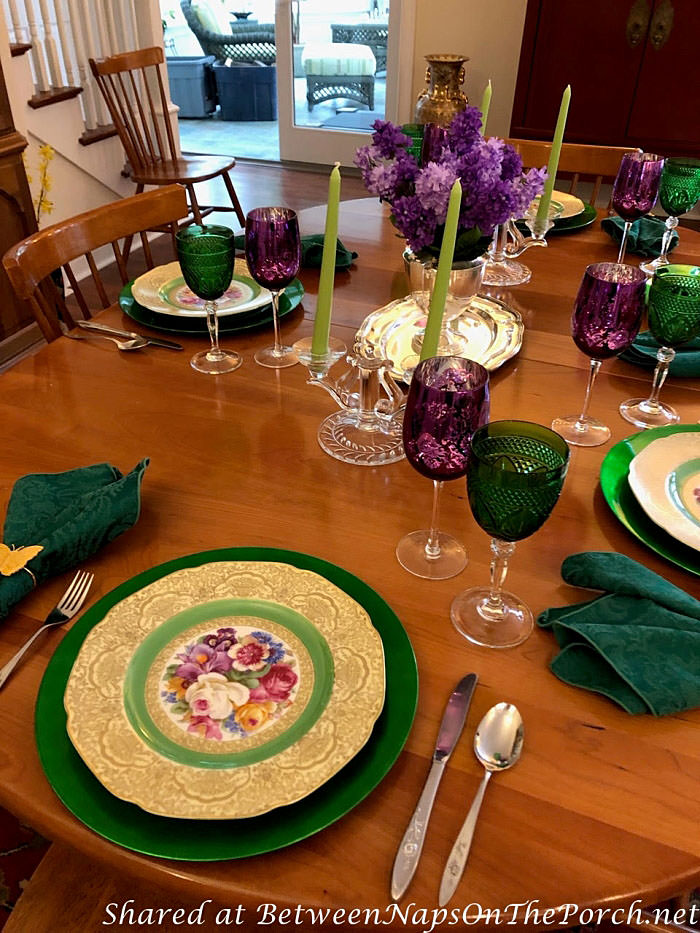 Spring Table in Green and Purple