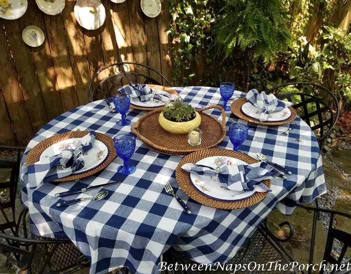 Summer Dining Outdoors, Table in Blue and White