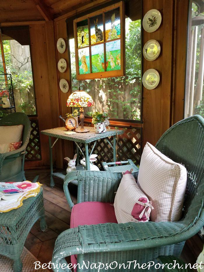 Summer House, Screened Gazebo, Vintage Green Wicker Furnishings
