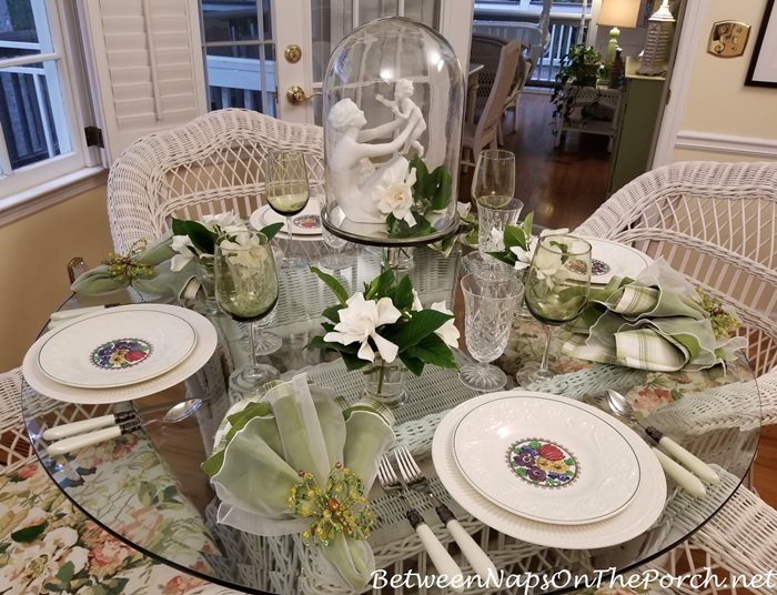 Tablescape, Gardenias, Wedgwood Etruria, Kaiser Mother and Child