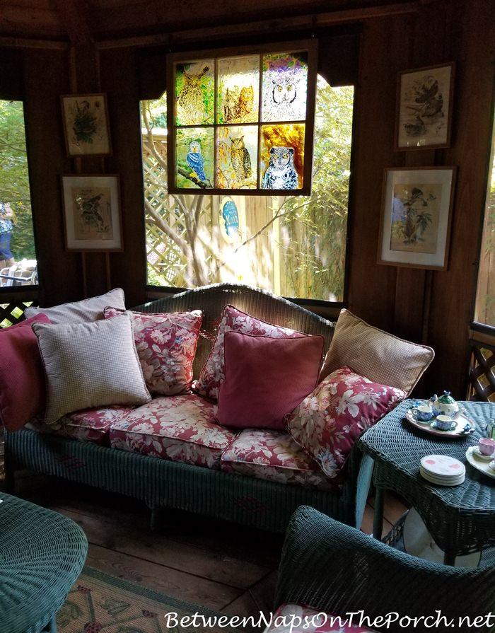 Vintage Green Wicker Sofa