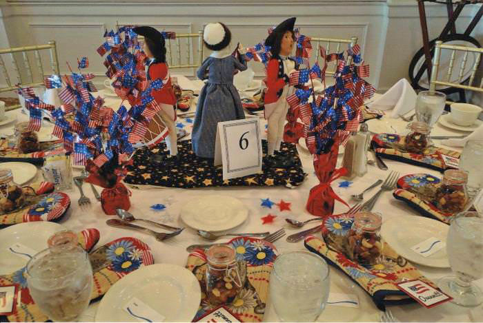Patriotic Table with Byers Figures-Dolls
