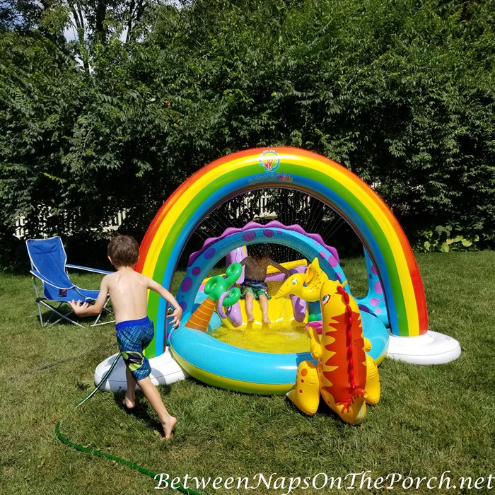 Rainbow Sprinkler and Dinosaur Play pool for Summer