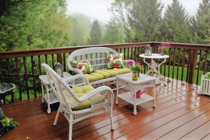 Wicker Seating on Deck, Springtime