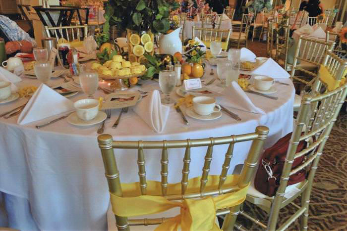 Yellow Roses, Lemon in Yellow-themed Table Centerpiece