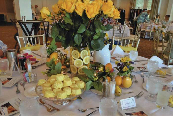 Yellow-Themed Table with Lemons and Yellow Roses