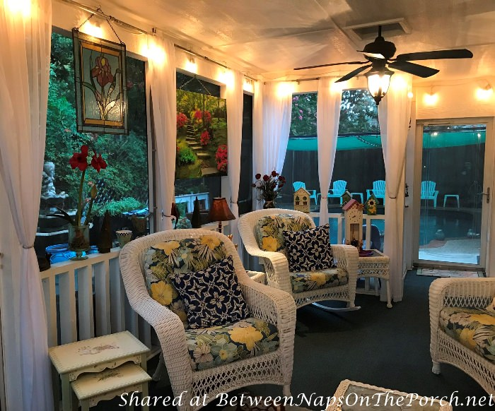 Add on a Screen Porch, Decorate with White Wicker