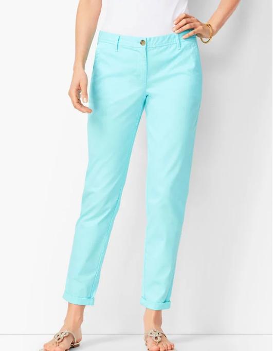 Aqua Chino Pants for Summer