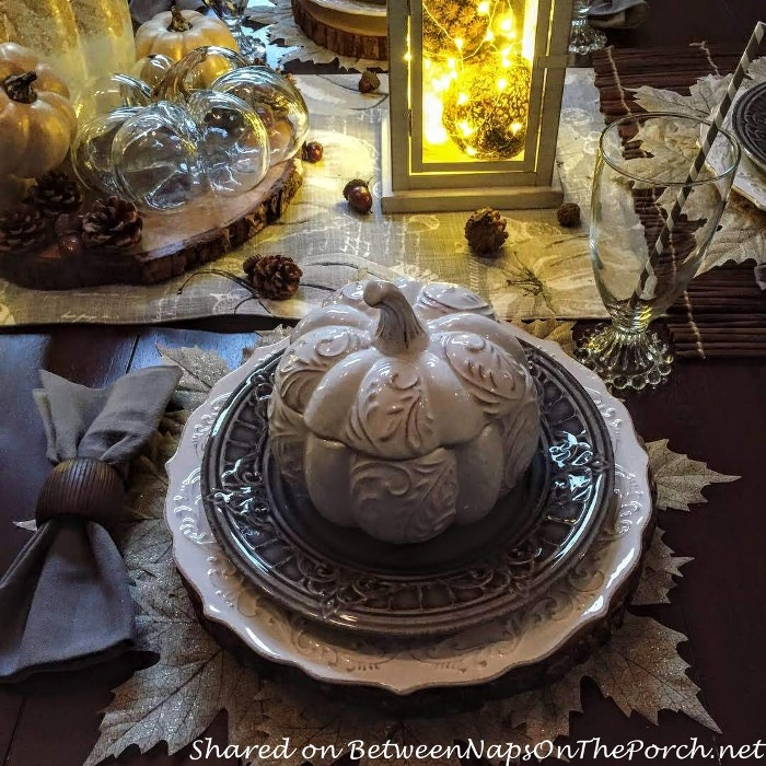 Fall Autumn Table, White Pumpkin Tureens, Leaf Placemats