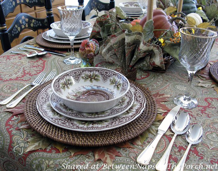 Fall-Autumn Table with Turkey-themed Thanksgiving Dinnerware, Rattan Chargers